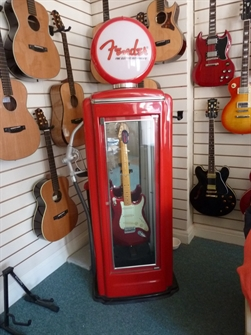 Fender 1940's 50's retro petrol pump display cabinet, poly finish in bright red